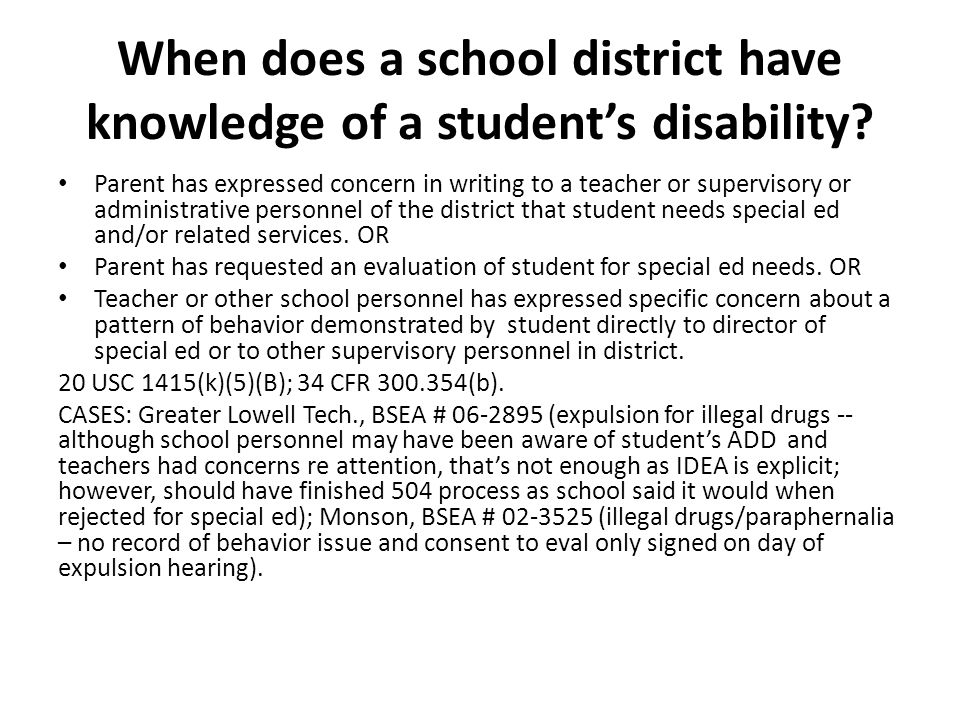 When does a school district have knowledge of a student's disability.
