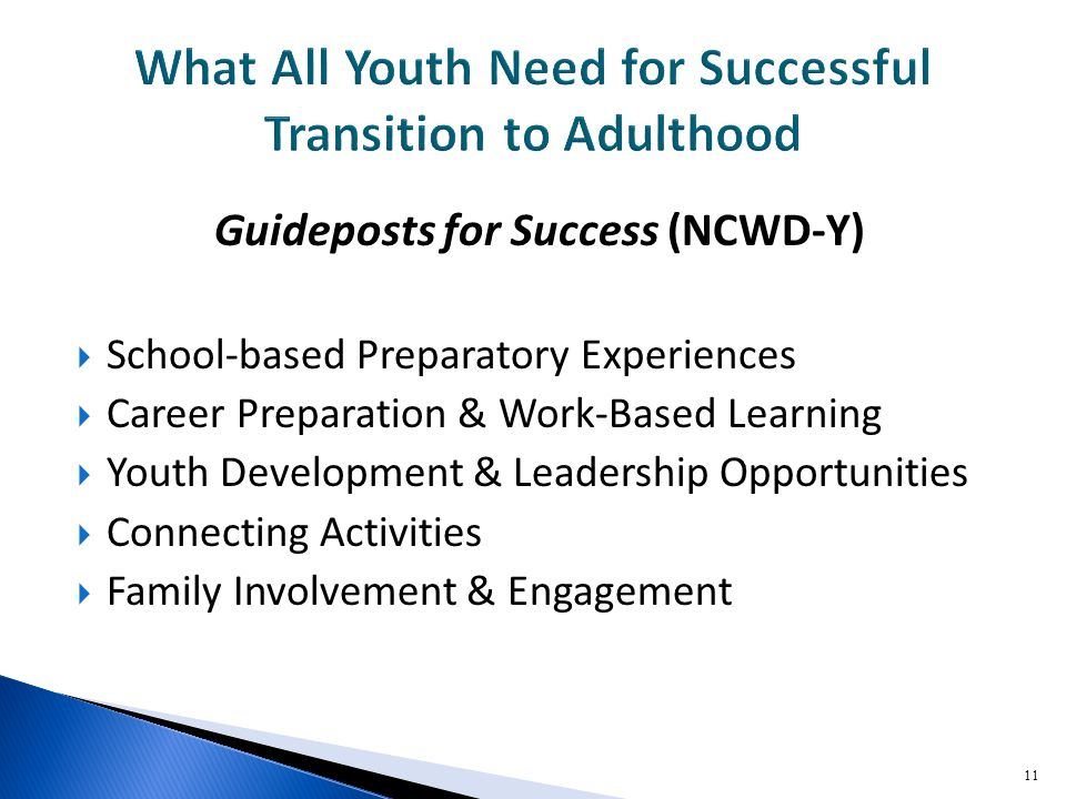 Guideposts for Success (NCWD-Y)  School-based Preparatory Experiences  Career Preparation & Work-Based Learning  Youth Development & Leadership Opportunities  Connecting Activities  Family Involvement & Engagement 11