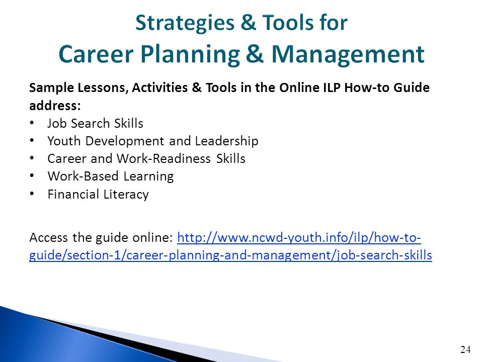 24 Sample Lessons, Activities & Tools in the Online ILP How-to Guide address: Job Search Skills Youth Development and Leadership Career and Work-Readiness Skills Work-Based Learning Financial Literacy Access the guide online: http://www.ncwd-youth.info/ilp/how-to- guide/section-1/career-planning-and-management/job-search-skillshttp://www.ncwd-youth.info/ilp/how-to- guide/section-1/career-planning-and-management/job-search-skills