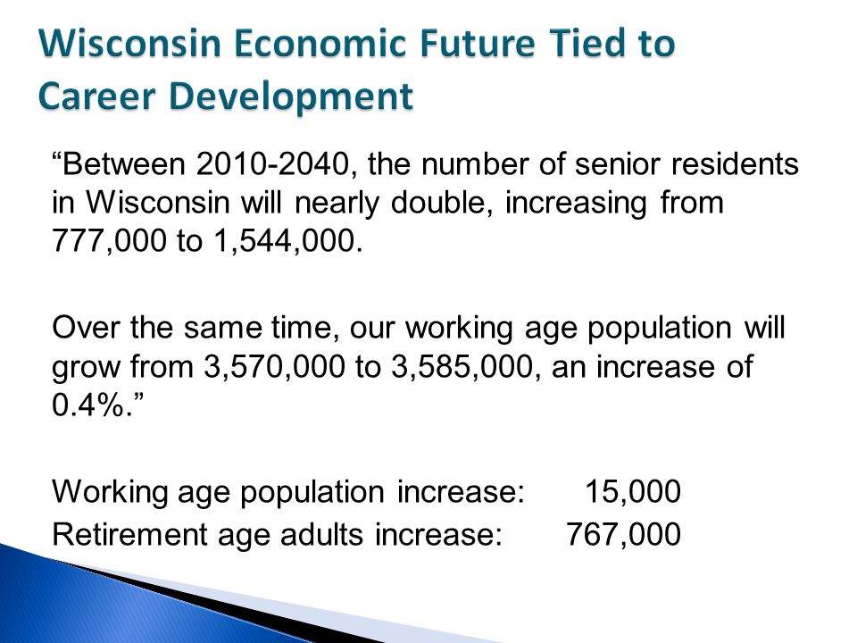Between 2010-2040, the number of senior residents in Wisconsin will nearly double, increasing from 777,000 to 1,544,000.