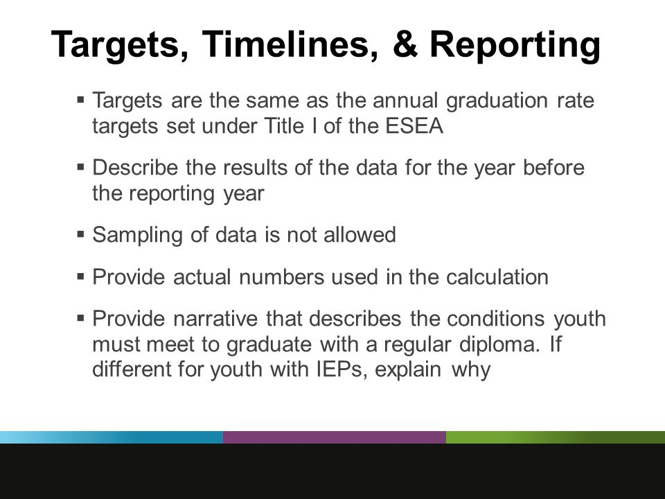 Targets, Timelines, & Reporting  Targets are the same as the annual graduation rate targets set under Title I of the ESEA  Describe the results of the data for the year before the reporting year  Sampling of data is not allowed  Provide actual numbers used in the calculation  Provide narrative that describes the conditions youth must meet to graduate with a regular diploma.