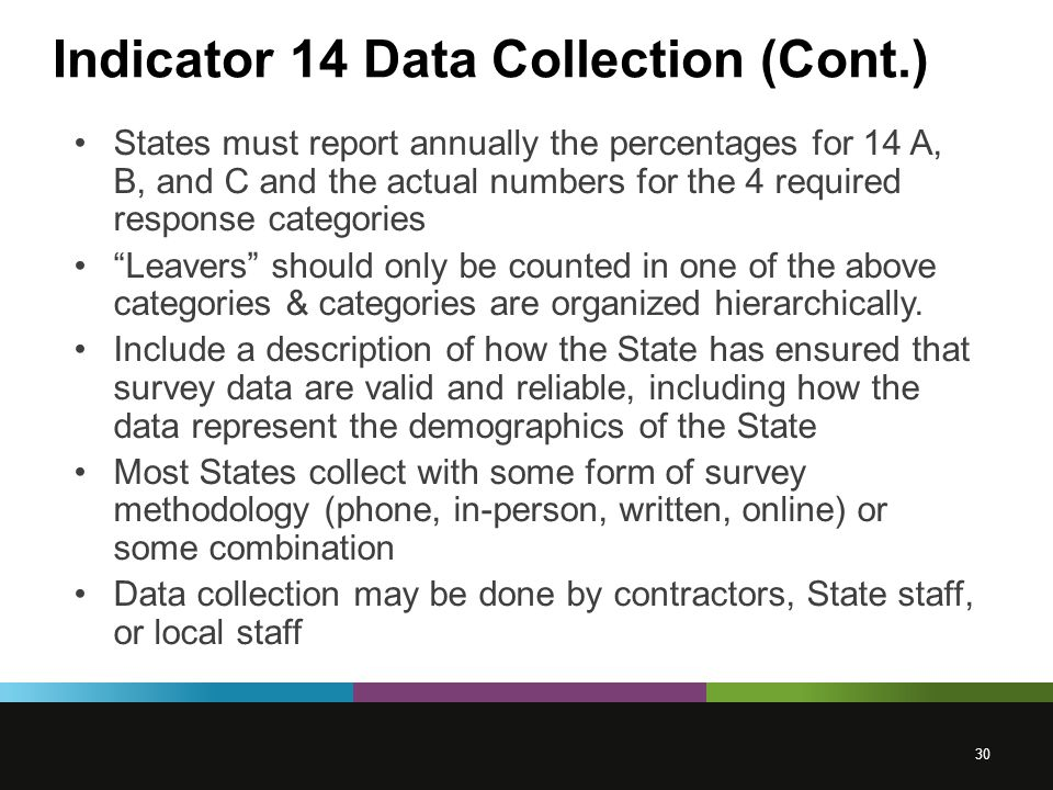 Indicator 14 Data Collection (Cont.) States must report annually the percentages for 14 A, B, and C and the actual numbers for the 4 required response categories Leavers should only be counted in one of the above categories & categories are organized hierarchically.