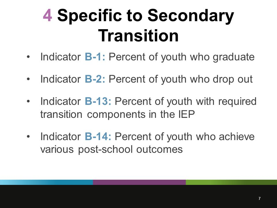 4 Specific to Secondary Transition Indicator B-1: Percent of youth who graduate Indicator B-2: Percent of youth who drop out Indicator B-13: Percent of youth with required transition components in the IEP Indicator B-14: Percent of youth who achieve various post-school outcomes 7