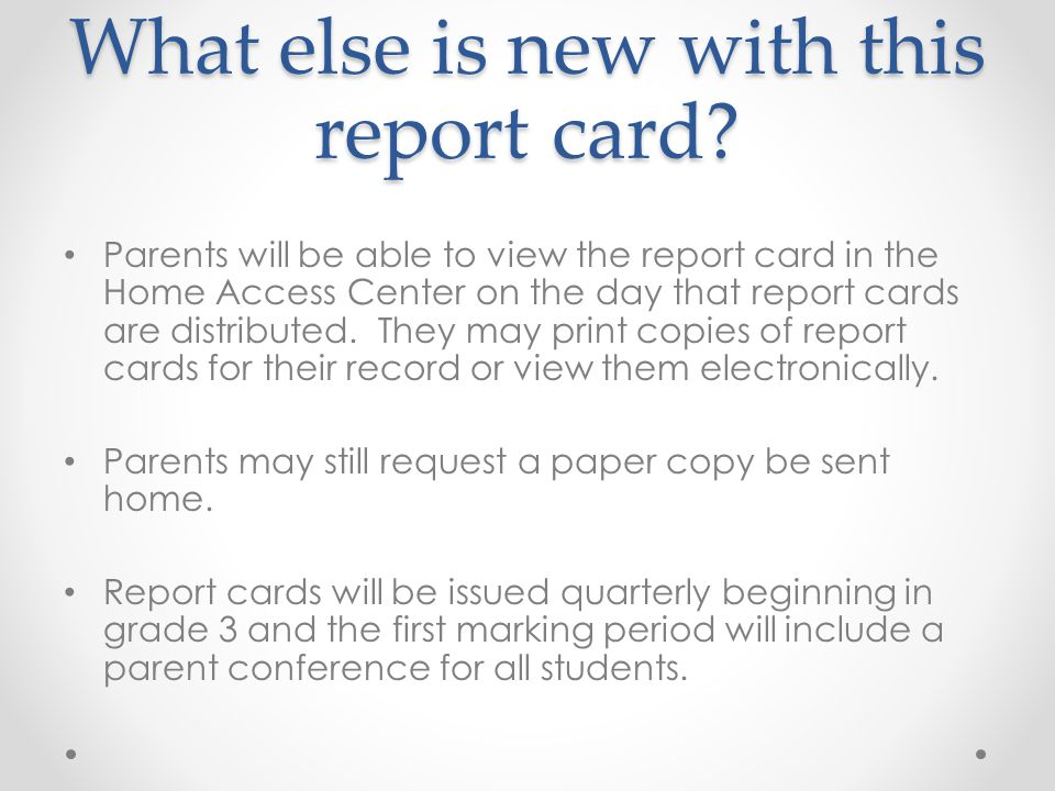 What else is new with this report card.