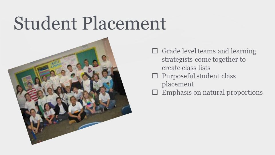 Student Placement ★ Grade level teams and learning strategists come together to create class lists ★ Purposeful student class placement ★ Emphasis on natural proportions