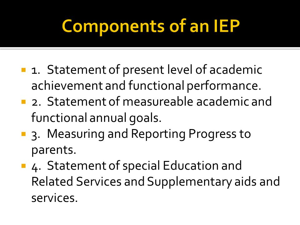  1.Statement of present level of academic achievement and functional performance.