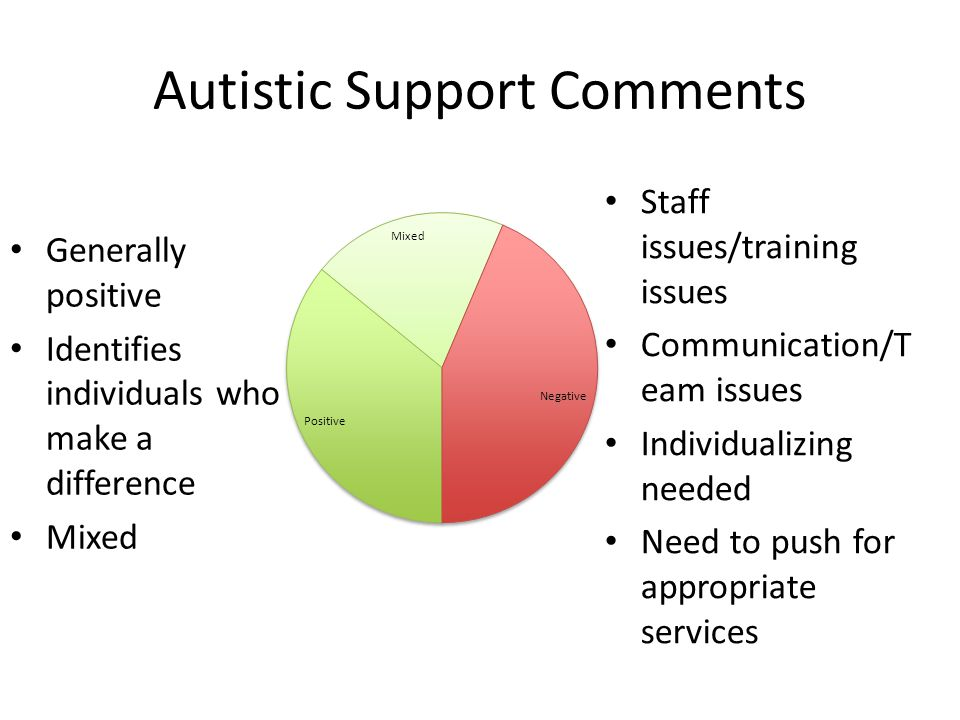 Autistic Support Comments Staff issues/training issues Communication/T eam issues Individualizing needed Need to push for appropriate services General