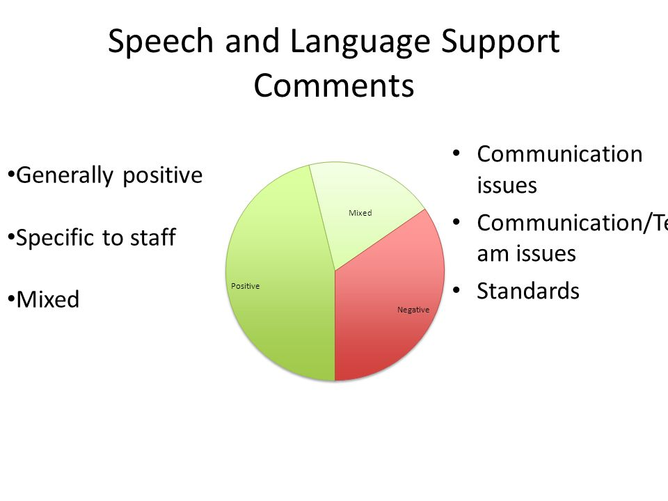 Speech and Language Support Comments Generally positive Specific to staff Mixed