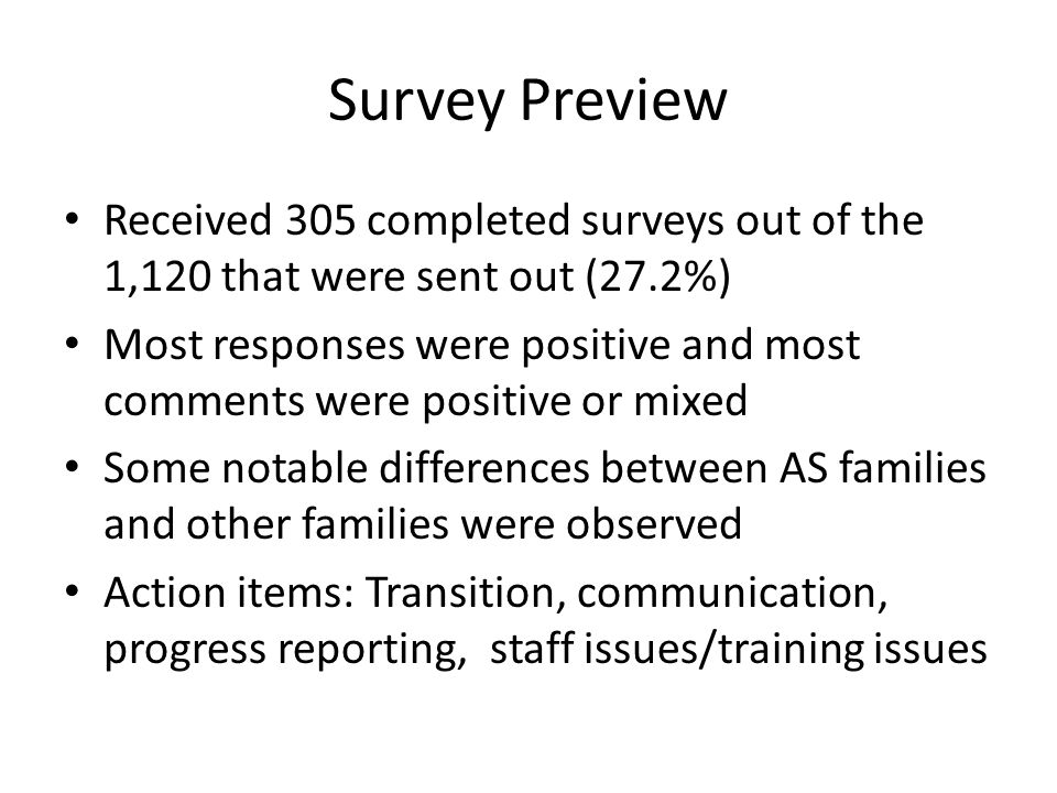 Survey Preview Received 305 completed surveys out of the 1,120 that were sent out (27.2%) Most responses were positive and most comments were positive