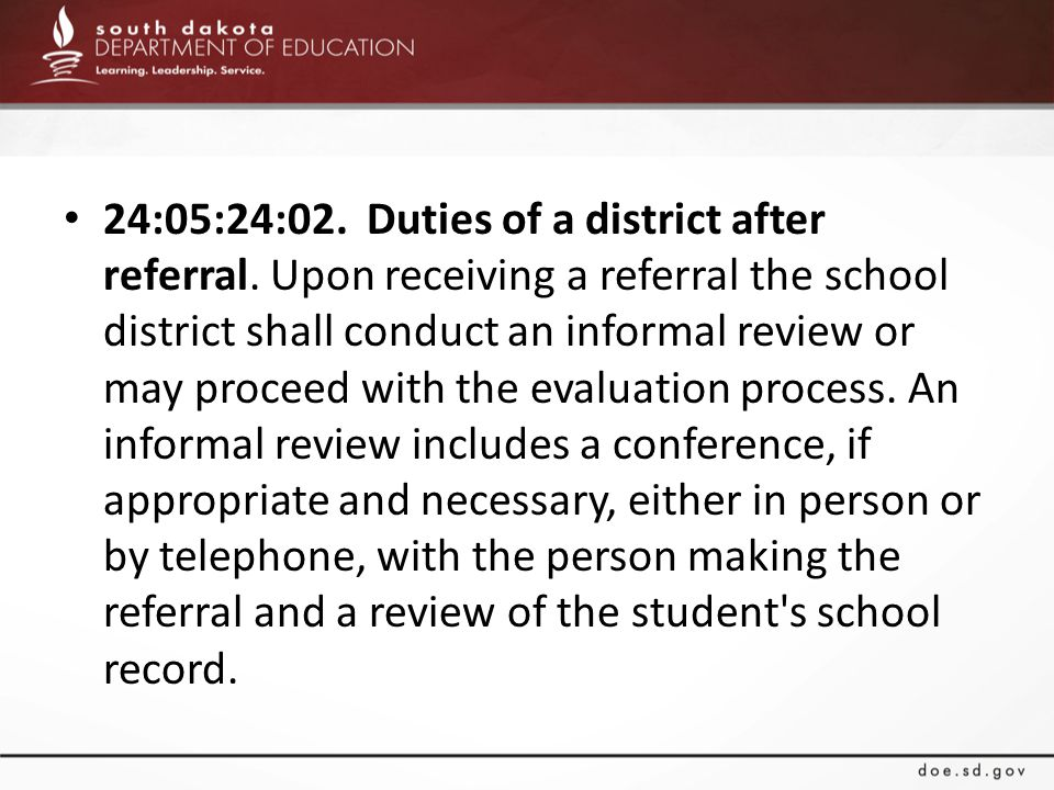 24:05:24:02. Duties of a district after referral.