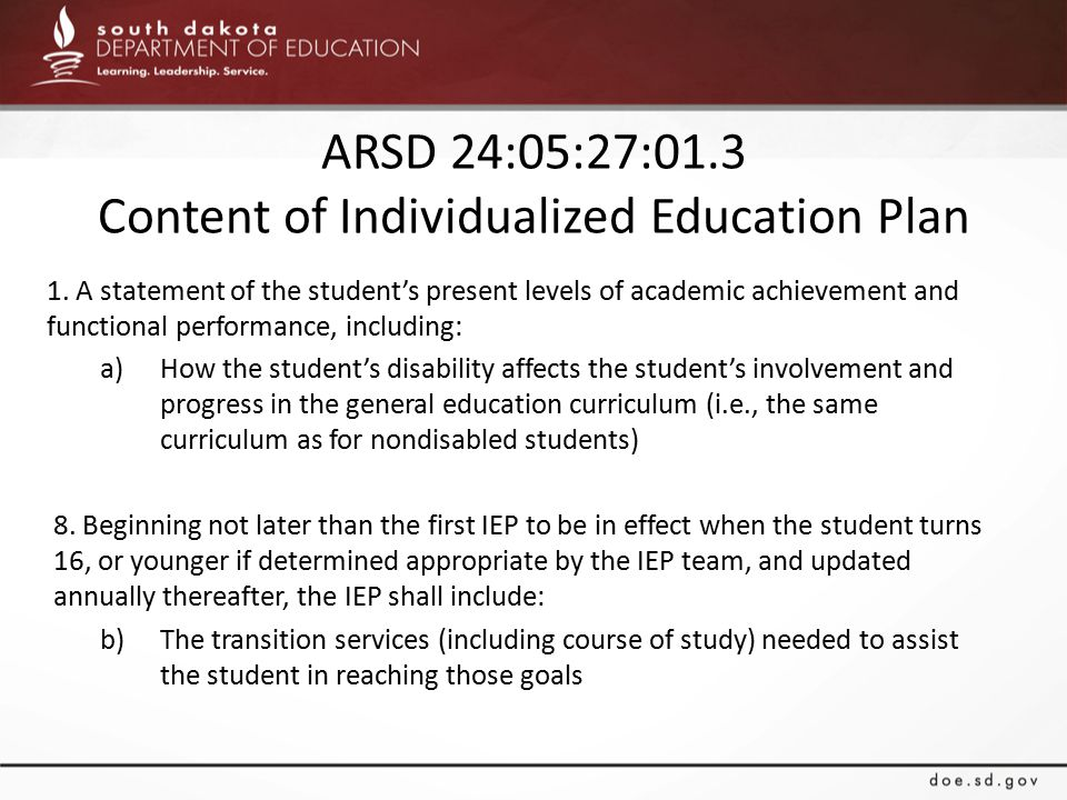 ARSD 24:05:27:01.3 Content of Individualized Education Plan 1.