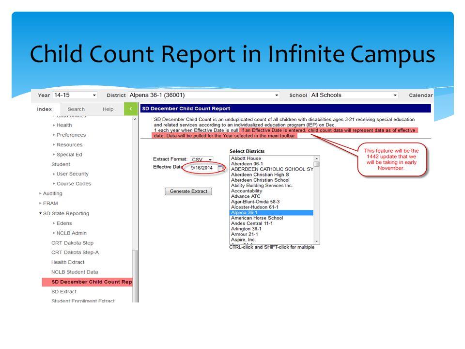 Child Count Report in Infinite Campus