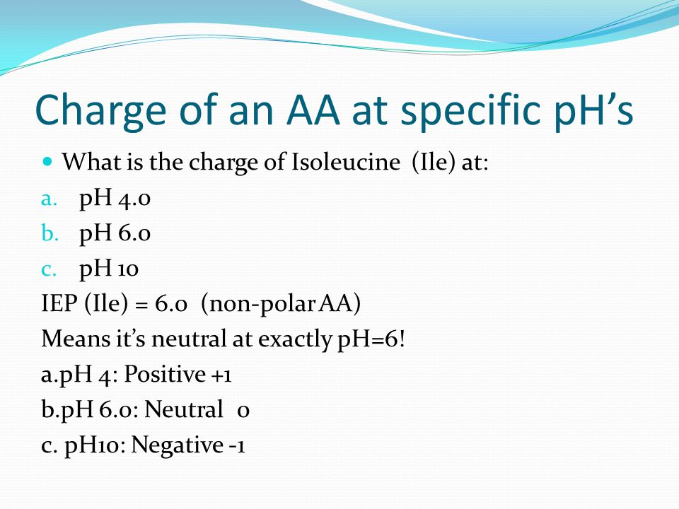 Charge of an AA at specific pH's What is the charge of Isoleucine (Ile) at: a. pH 4.0 b. pH 6.0 c. pH 10 IEP (Ile) = 6.0 (non-polar AA) Means it's neu