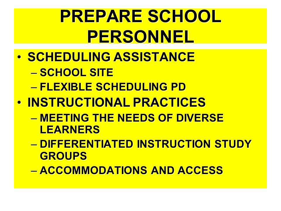 PREPARE SCHOOL PERSONNEL SCHEDULING ASSISTANCESCHEDULING ASSISTANCE –SCHOOL SITE –FLEXIBLE SCHEDULING PD INSTRUCTIONAL PRACTICESINSTRUCTIONAL PRACTICE
