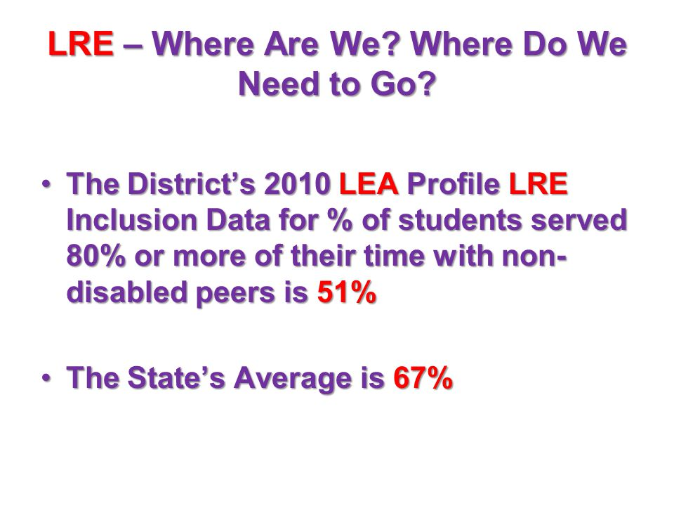 LRE – Where Are We? Where Do We Need to Go? The District's 2010 LEA Profile LRE Inclusion Data for % of students served 80% or more of their time with