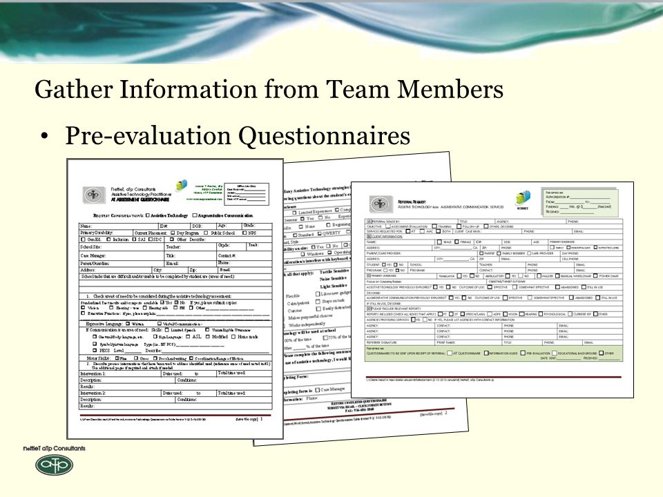 Gather Information from Team Members Pre-evaluation Questionnaires