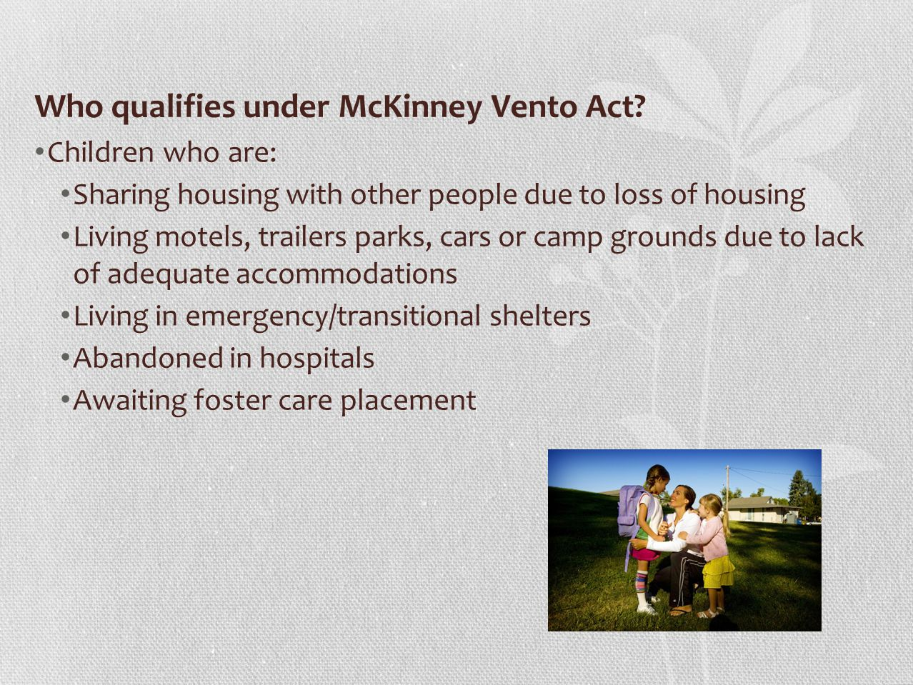 Transportation and McKinney Vento Comparable services.