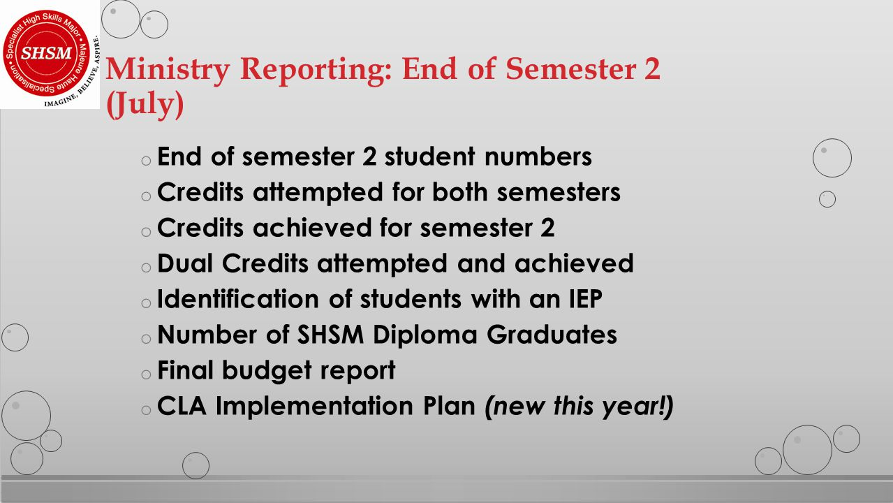 o End of semester 2 student numbers o Credits attempted for both semesters o Credits achieved for semester 2 o Dual Credits attempted and achieved o Identification of students with an IEP o Number of SHSM Diploma Graduates o Final budget report o CLA Implementation Plan (new this year!) Ministry Reporting: End of Semester 2 (July)