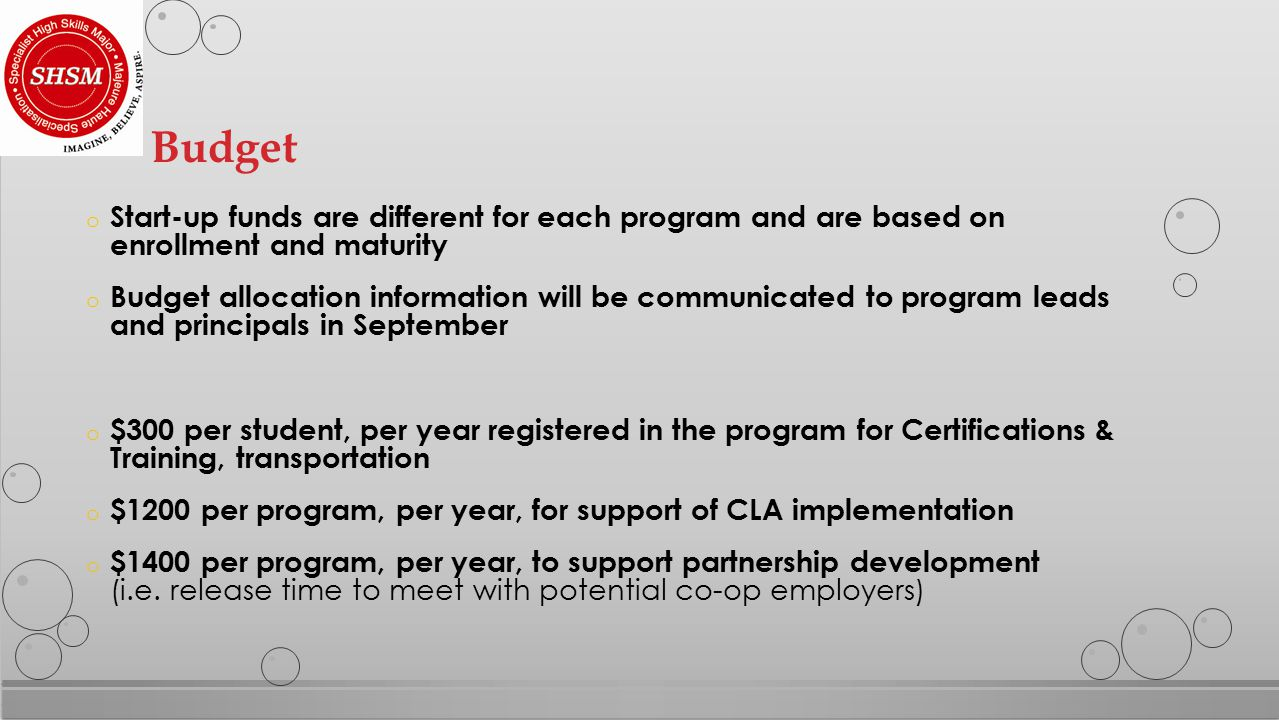 o Start-up funds are different for each program and are based on enrollment and maturity o Budget allocation information will be communicated to program leads and principals in September o $300 per student, per year registered in the program for Certifications & Training, transportation o $1200 per program, per year, for support of CLA implementation o $1400 per program, per year, to support partnership development (i.e.