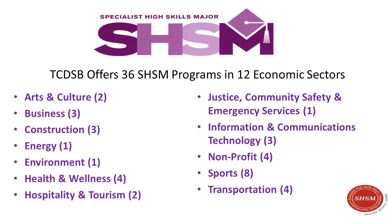 TCDSB Offers 36 SHSM Programs in 12 Economic Sectors Arts & Culture (2) Business (3) Construction (3) Energy (1) Environment (1) Health & Wellness (4) Hospitality & Tourism (2) Justice, Community Safety & Emergency Services (1) Information & Communications Technology (3) Non-Profit (4) Sports (8) Transportation (4)