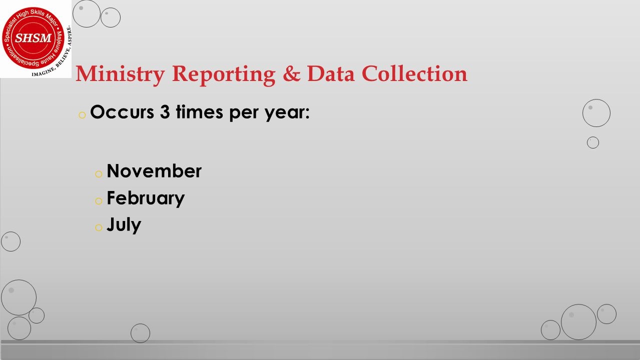 o Occurs 3 times per year: o November o February o July Ministry Reporting & Data Collection