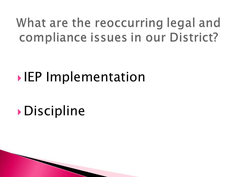  IEP Implementation  Discipline
