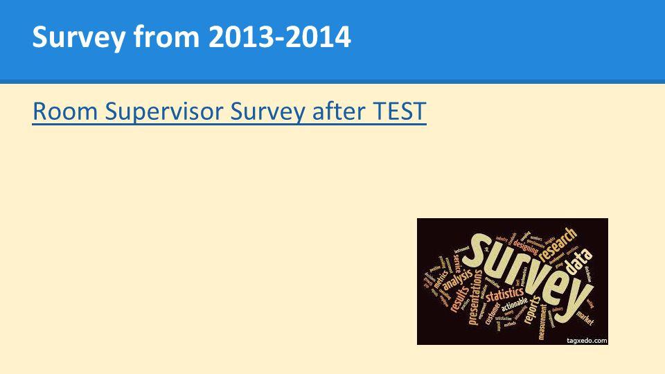 Survey from 2013-2014 Room Supervisor Survey after TEST