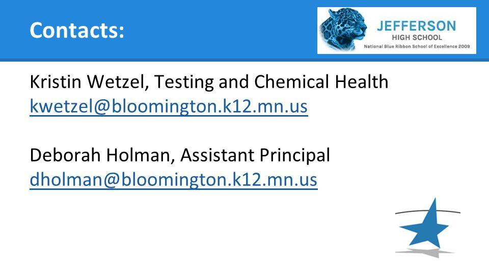 Contacts: Kristin Wetzel, Testing and Chemical Health kwetzel@bloomington.k12.mn.us Deborah Holman, Assistant Principal dholman@bloomington.k12.mn.us