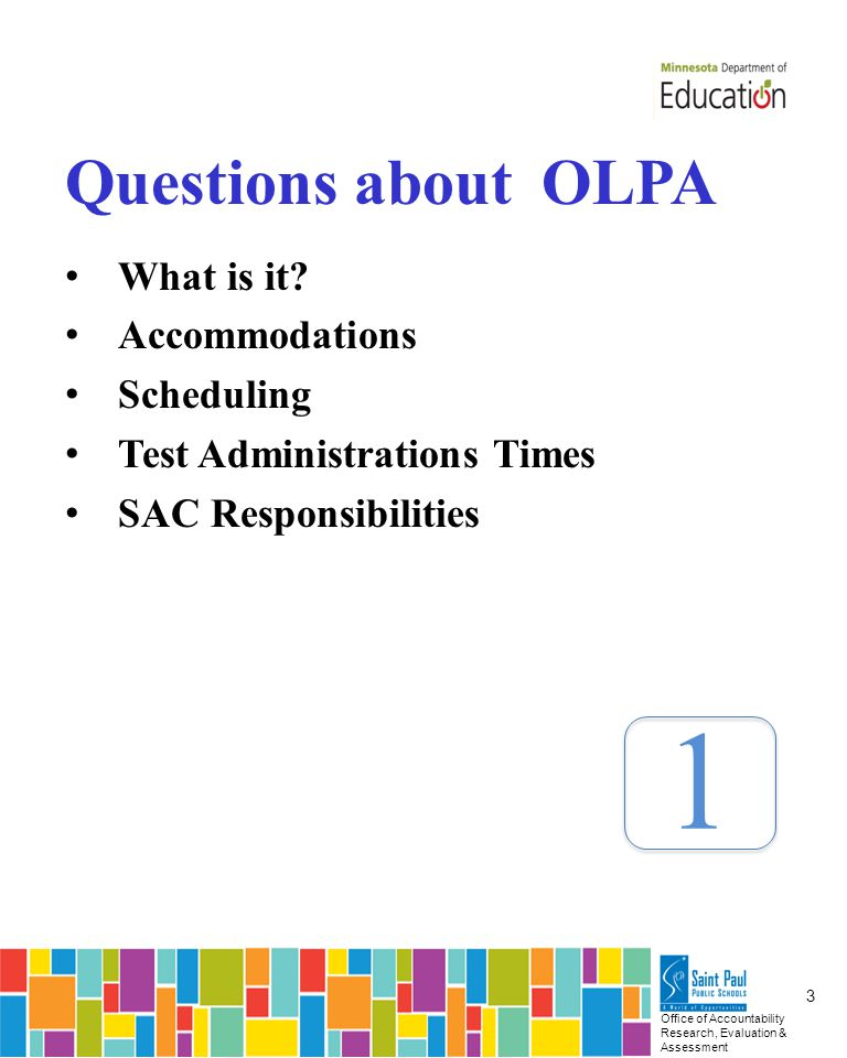 Office of Accountability Research, Evaluation & Assessment 14 3 Resources Item Samplers Training Center
