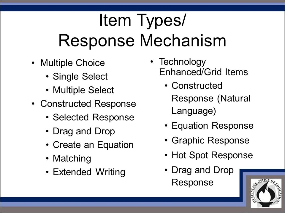 Item Types/ Response Mechanism Technology Enhanced/Grid Items Constructed Response (Natural Language) Equation Response Graphic Response Hot Spot Response Drag and Drop Response Multiple Choice Single Select Multiple Select Constructed Response Selected Response Drag and Drop Create an Equation Matching Extended Writing