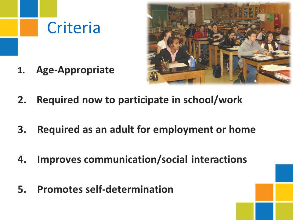 Criteria 1. Age-Appropriate 2.
