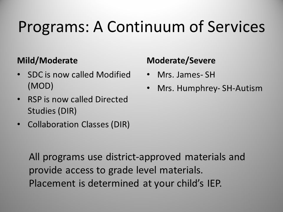 Programs: A Continuum of Services Mild/Moderate SDC is now called Modified (MOD) RSP is now called Directed Studies (DIR) Collaboration Classes (DIR)