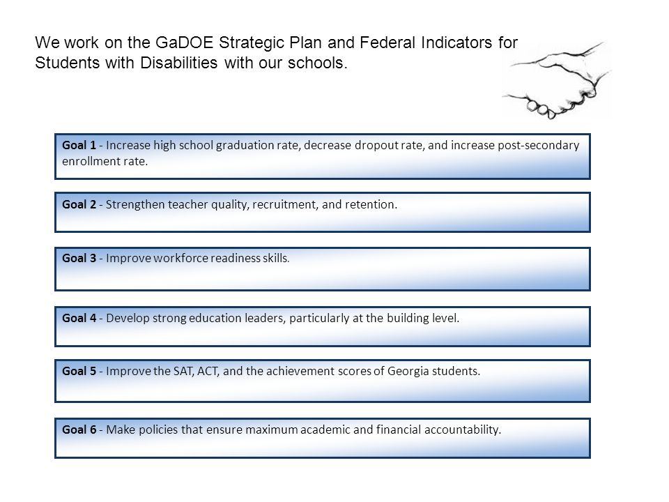 We work on the GaDOE Strategic Plan and Federal Indicators for Students with Disabilities with our schools. Goal 2 - Strengthen teacher quality, recru