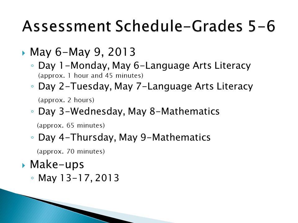 May 6-May 9, 2013 ◦ Day 1-Monday, May 6-Language Arts Literacy (approx.