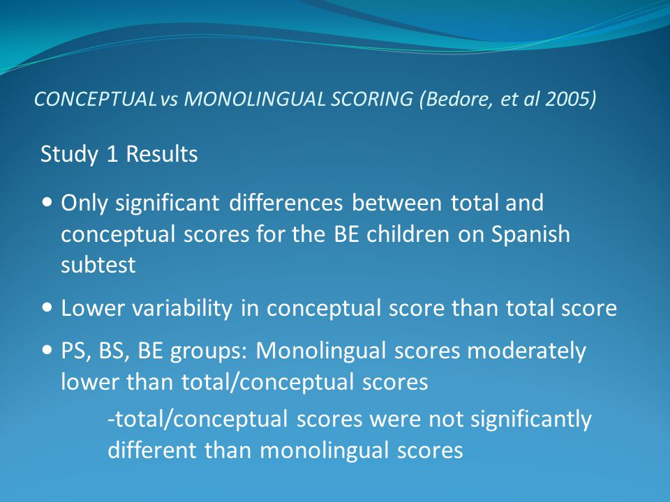 CONCEPTUAL vs MONOLINGUAL SCORING (Bedore, et al 2005) Study 1 Results Only significant differences between total and conceptual scores for the BE chi