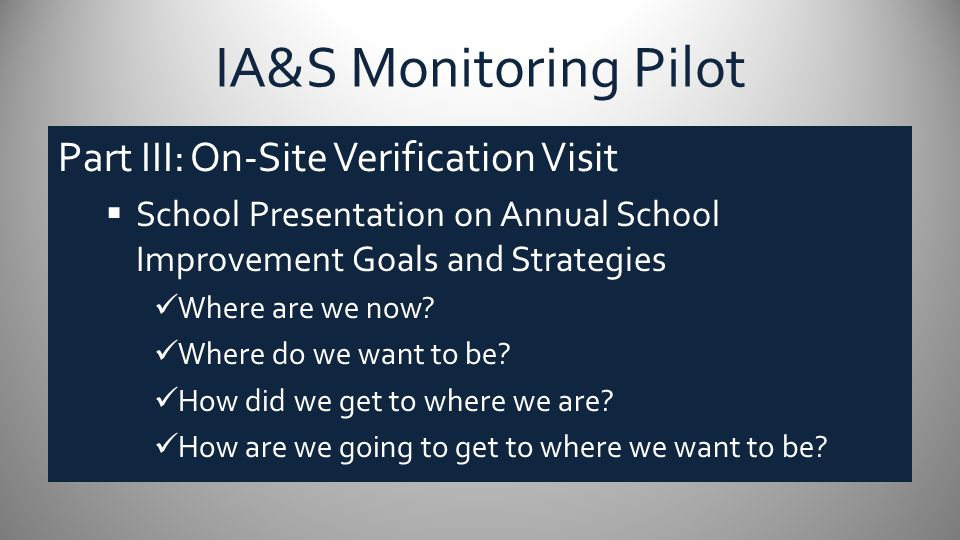 IA&S Monitoring Pilot Part III: On-Site Verification Visit  School Presentation on Annual School Improvement Goals and Strategies Where are we now? W