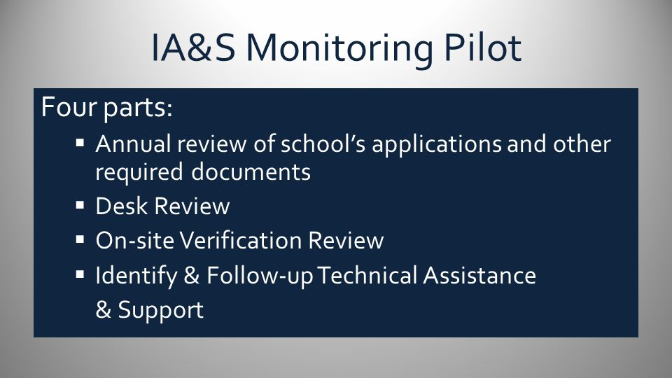 IA&S Monitoring Pilot Part III: On-Site Verification Visit  Focus Groups – School Leadership Team Instructional Teams Family and Community Council Middle School/High School Students