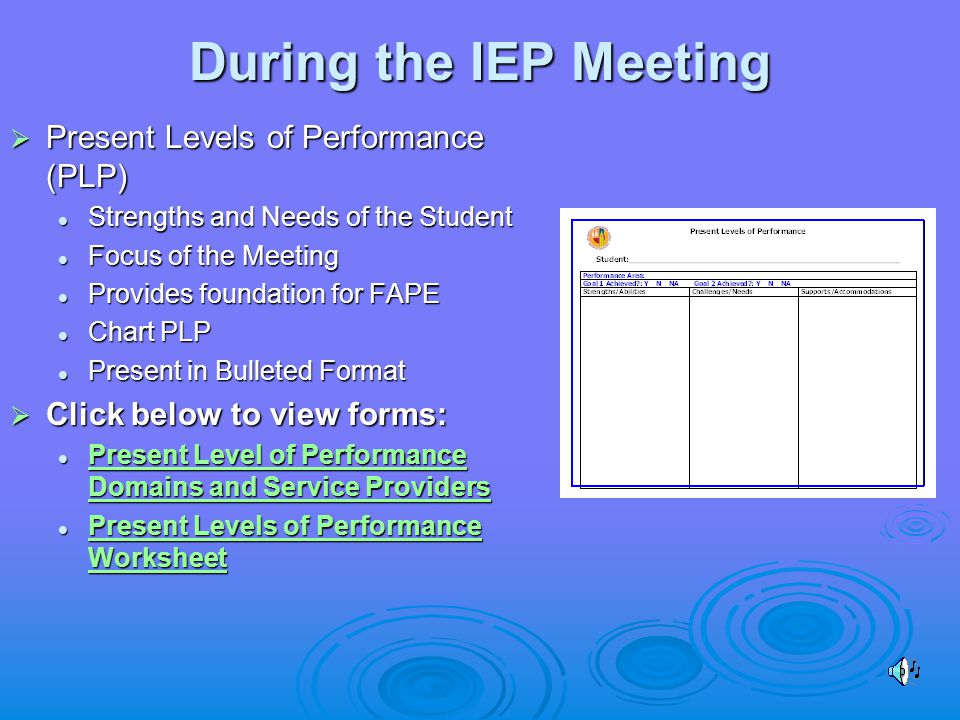 During the IEP Meeting  Present Levels of Performance (PLP) Strengths and Needs of the Student Strengths and Needs of the Student Focus of the Meeting Focus of the Meeting Provides foundation for FAPE Provides foundation for FAPE Chart PLP Chart PLP Present in Bulleted Format Present in Bulleted Format  Click below to view forms: Present Level of Performance Domains and Service Providers Present Level of Performance Domains and Service Providers Present Level of Performance Domains and Service Providers Present Level of Performance Domains and Service Providers Present Levels of Performance Worksheet Present Levels of Performance Worksheet Present Levels of Performance Worksheet Present Levels of Performance Worksheet
