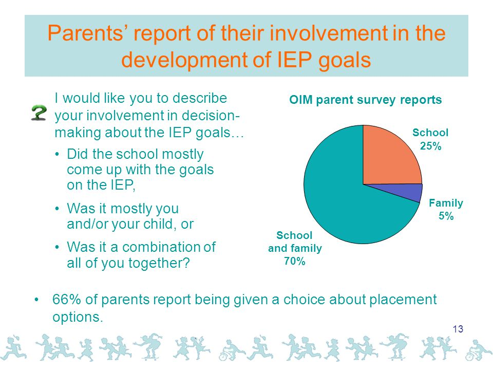 13 Parents' report of their involvement in the development of IEP goals I would like you to describe your involvement in decision- making about the IEP goals… Did the school mostly come up with the goals on the IEP, Was it mostly you and/or your child, or Was it a combination of all of you together.