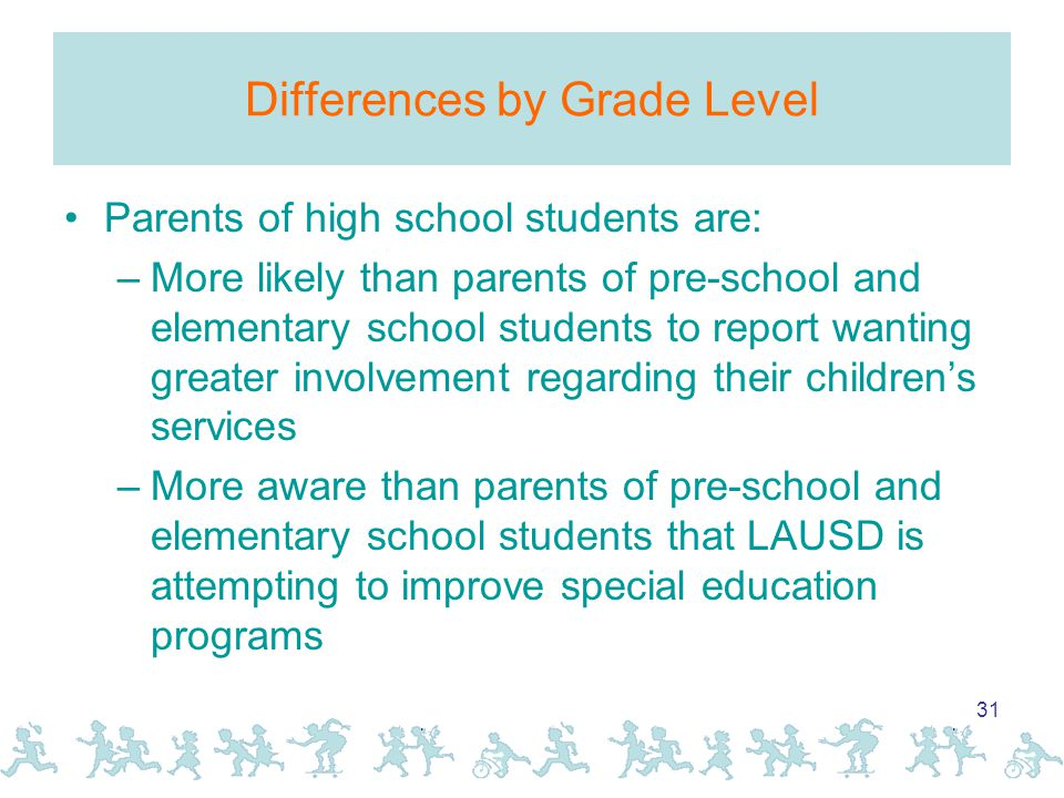 31 Differences by Grade Level Parents of high school students are: –More likely than parents of pre-school and elementary school students to report wanting greater involvement regarding their children's services –More aware than parents of pre-school and elementary school students that LAUSD is attempting to improve special education programs