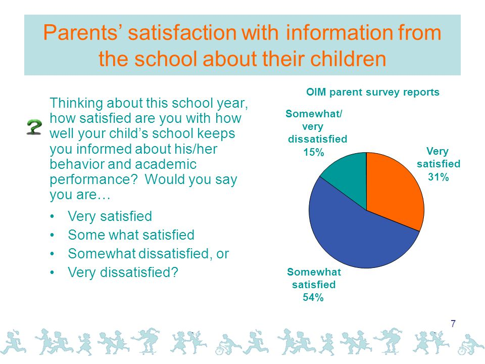 7 Parents' satisfaction with information from the school about their children Thinking about this school year, how satisfied are you with how well your child's school keeps you informed about his/her behavior and academic performance.