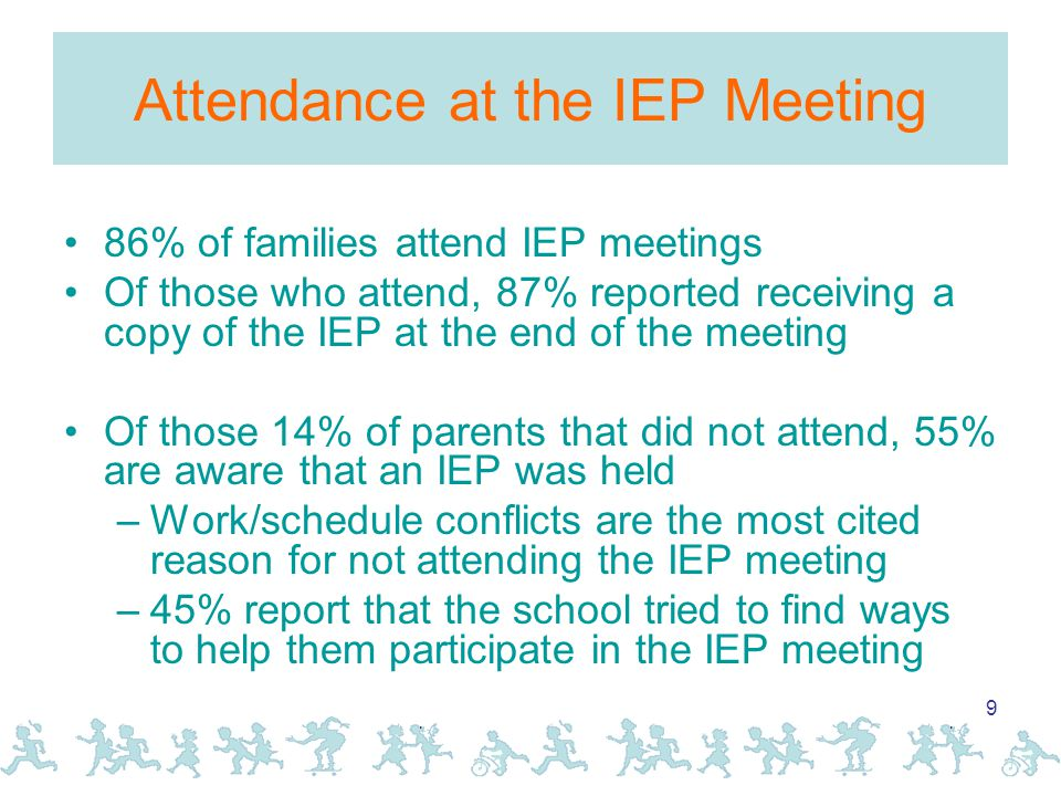 9 Attendance at the IEP Meeting 86% of families attend IEP meetings Of those who attend, 87% reported receiving a copy of the IEP at the end of the meeting Of those 14% of parents that did not attend, 55% are aware that an IEP was held –Work/schedule conflicts are the most cited reason for not attending the IEP meeting –45% report that the school tried to find ways to help them participate in the IEP meeting