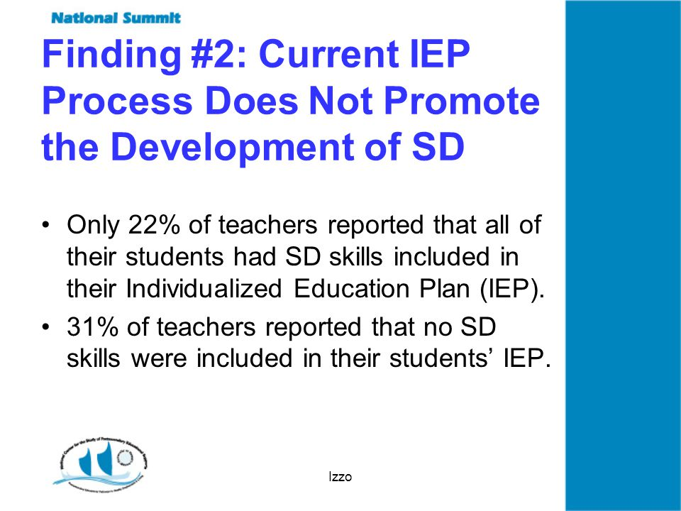 Izzo Finding #2: Current IEP Process Does Not Promote the Development of SD Only 22% of teachers reported that all of their students had SD skills included in their Individualized Education Plan (IEP).