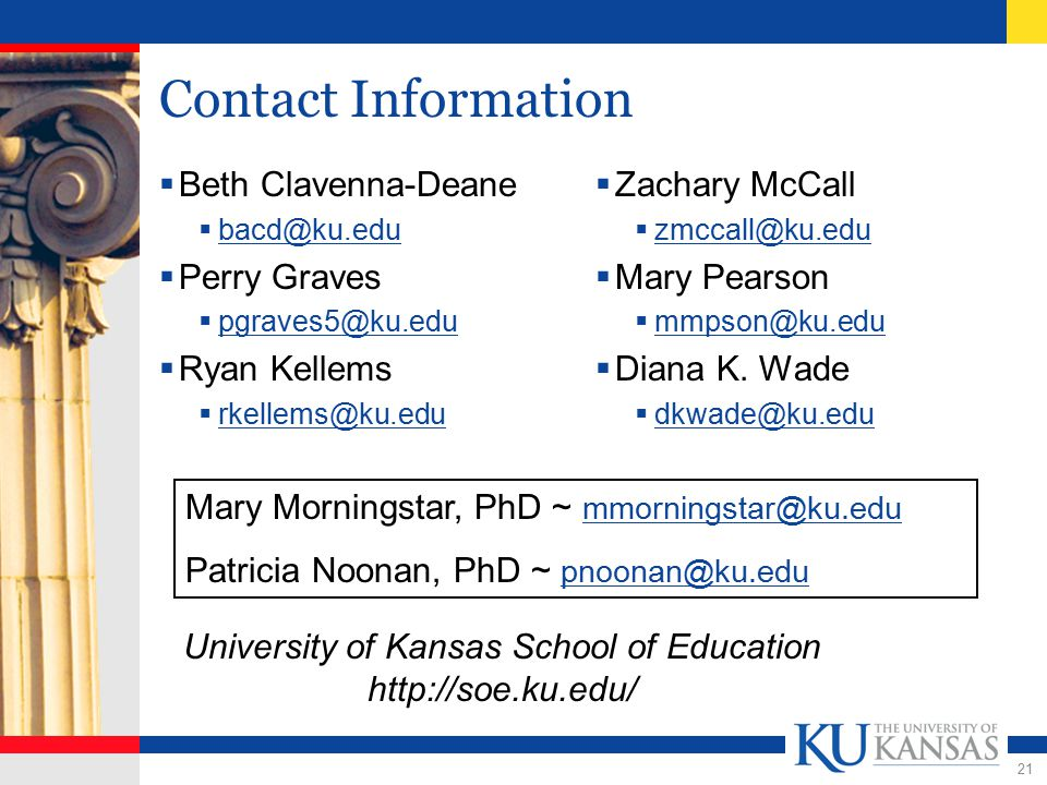 21 Contact Information  Beth Clavenna-Deane  bacd@ku.edu bacd@ku.edu  Perry Graves  pgraves5@ku.edu pgraves5@ku.edu  Ryan Kellems  rkellems@ku.edu rkellems@ku.edu  Zachary McCall  zmccall@ku.edu zmccall@ku.edu  Mary Pearson  mmpson@ku.edu mmpson@ku.edu  Diana K.