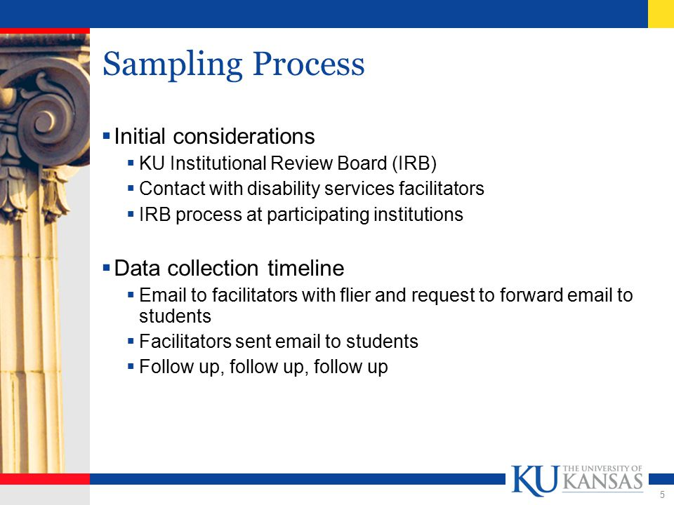 5 Sampling Process  Initial considerations  KU Institutional Review Board (IRB)  Contact with disability services facilitators  IRB process at participating institutions  Data collection timeline  Email to facilitators with flier and request to forward email to students  Facilitators sent email to students  Follow up, follow up, follow up