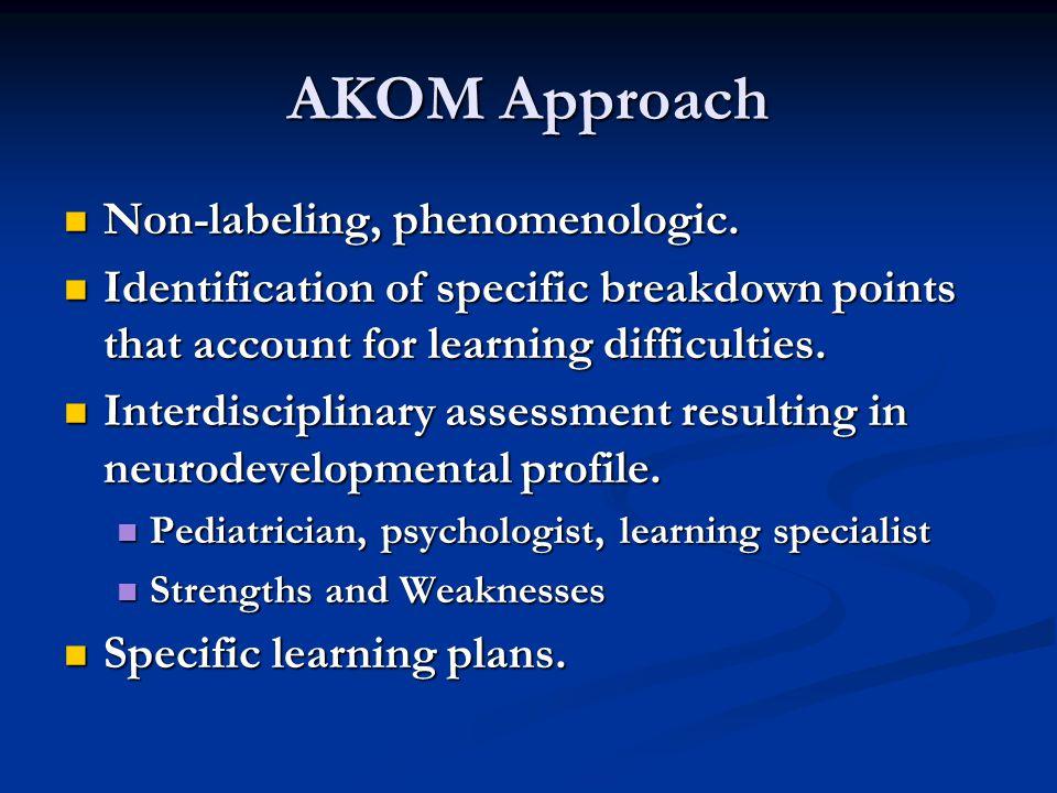 AKOM Approach Non-labeling, phenomenologic. Non-labeling, phenomenologic.