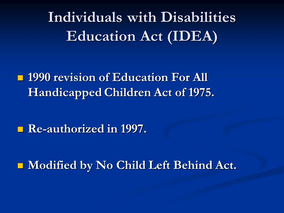 Fundamental Components of IDEA Free Appropriate Public Education (FAPE) Free Appropriate Public Education (FAPE) Individualized Education Program (IEP) Individualized Education Program (IEP) Procedural Safeguards Procedural Safeguards Least Restrictive Environment (LRE) Least Restrictive Environment (LRE)