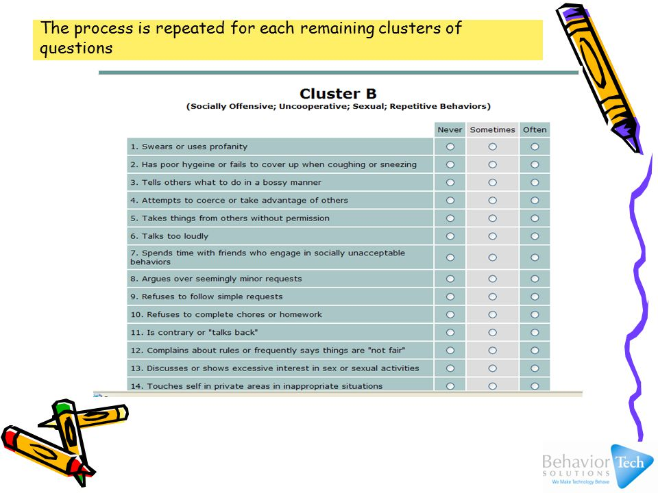 The process is repeated for each remaining clusters of questions