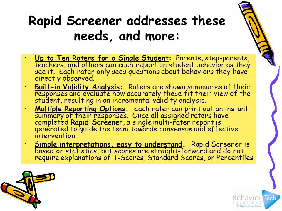 How long does it take to complete Rapid Screener.