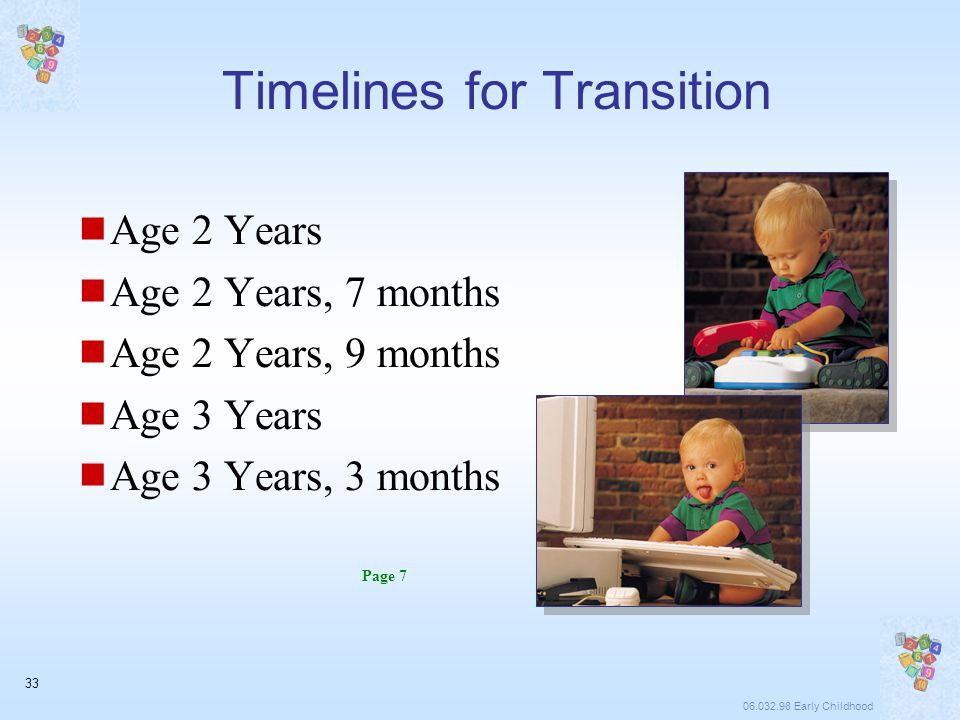 06.032.98 Early Childhood 33 Timelines for Transition  Age 2 Years  Age 2 Years, 7 months  Age 2 Years, 9 months  Age 3 Years  Age 3 Years, 3 months Page 7